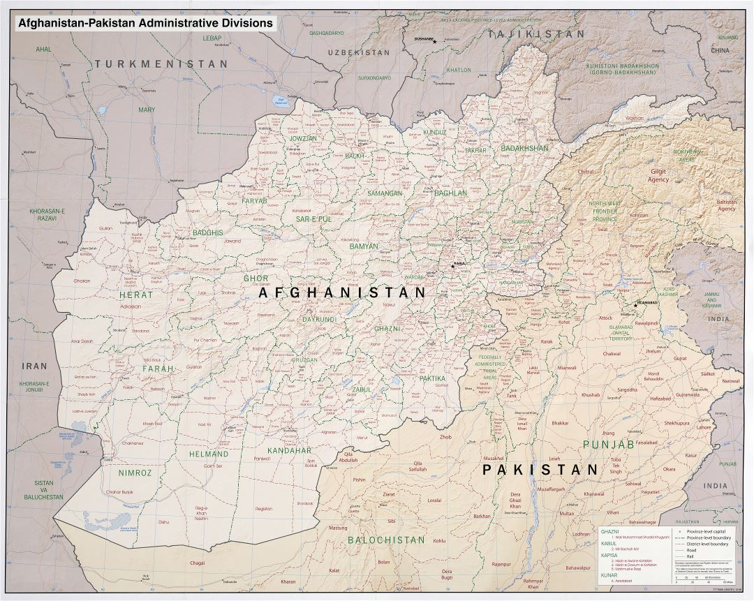 Large scale administrative divisions map of Afghanistan and Pakistan with relief - 2008