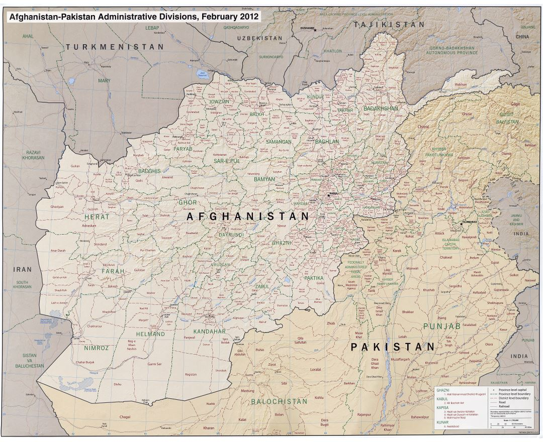 Large scale administrative divisions map of Afghanistan and Pakistan with relief, roads, railroads and major cities - 2012