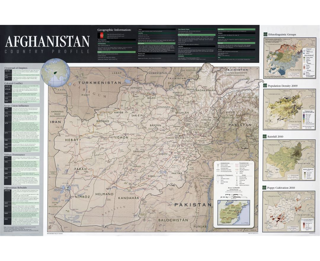Large scale detailed country profile map of Afghanistan