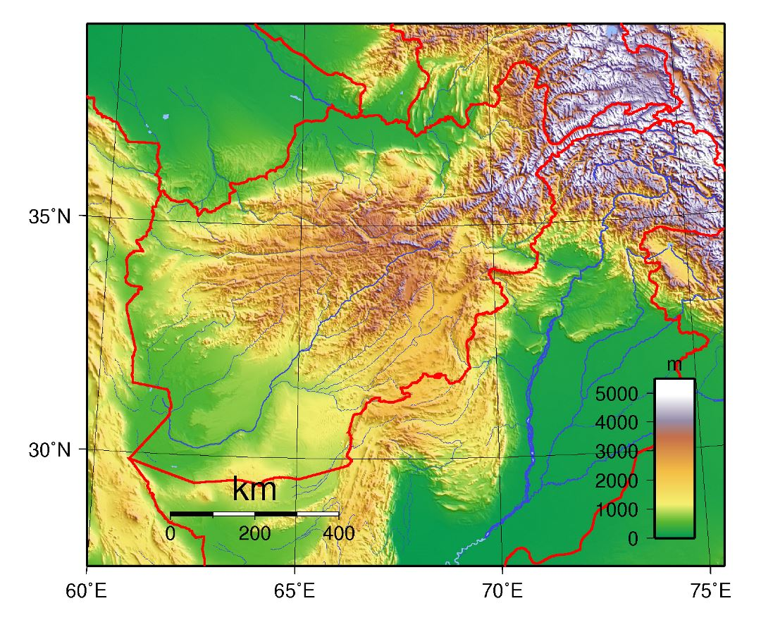 Large topographical map of Afghanistan