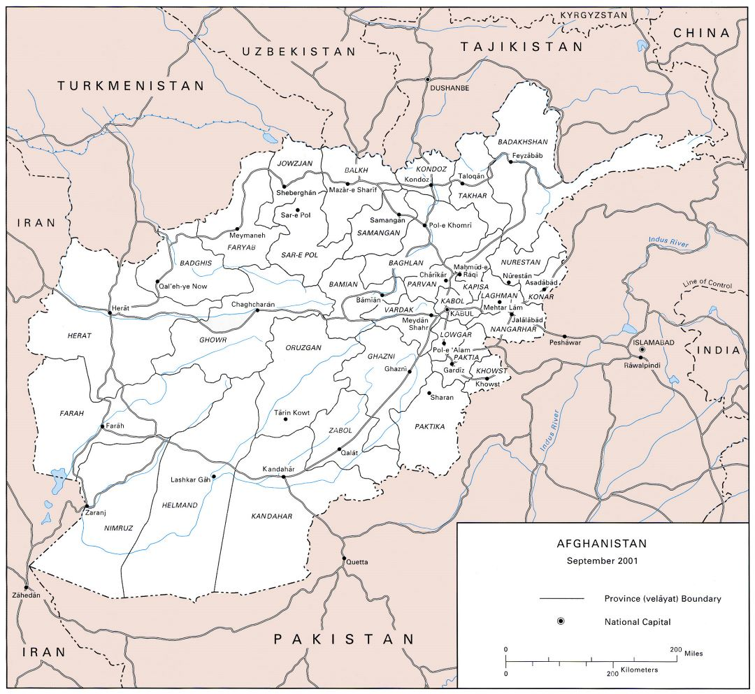 Large US army map of Afghanistan - 2001