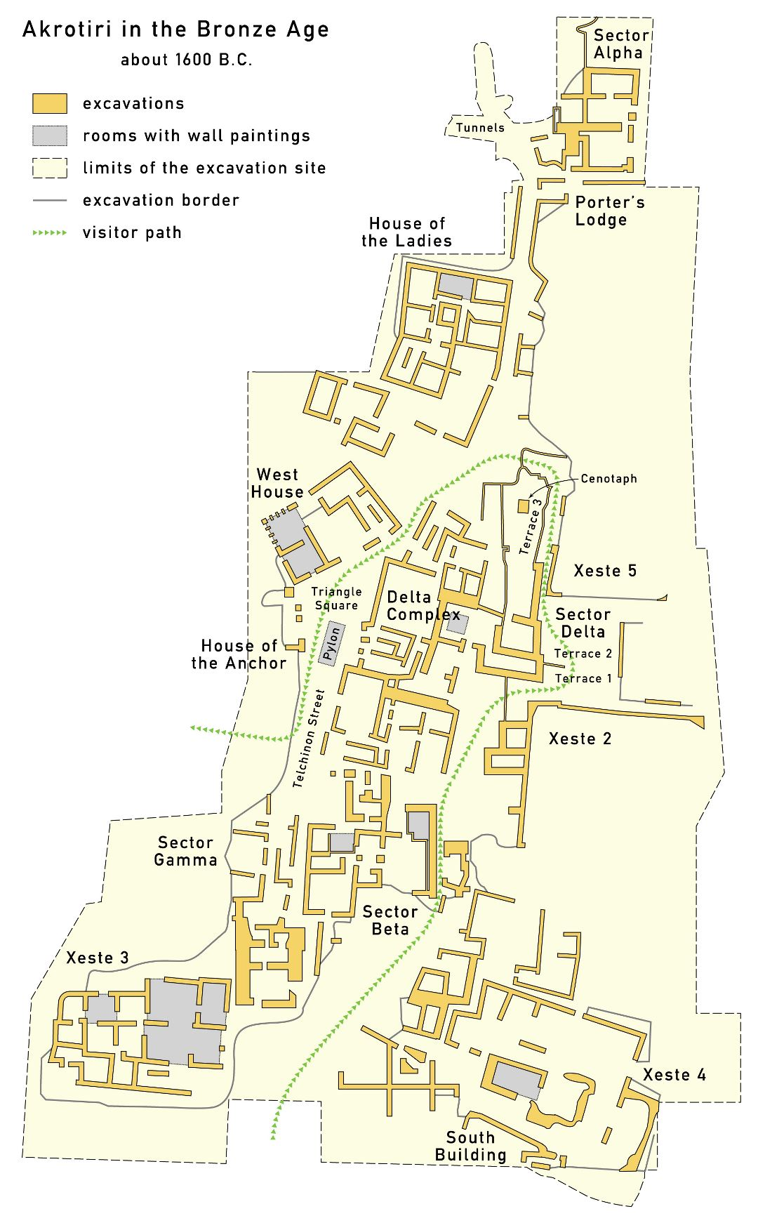Large map of Akrotiri 1600 BC