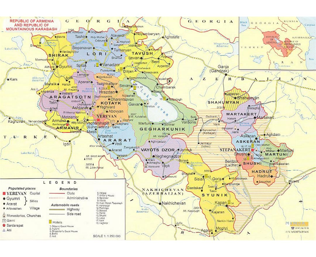 Maps Of Armenia Detailed Map Of Armenia In English And Russian - Gyumri map