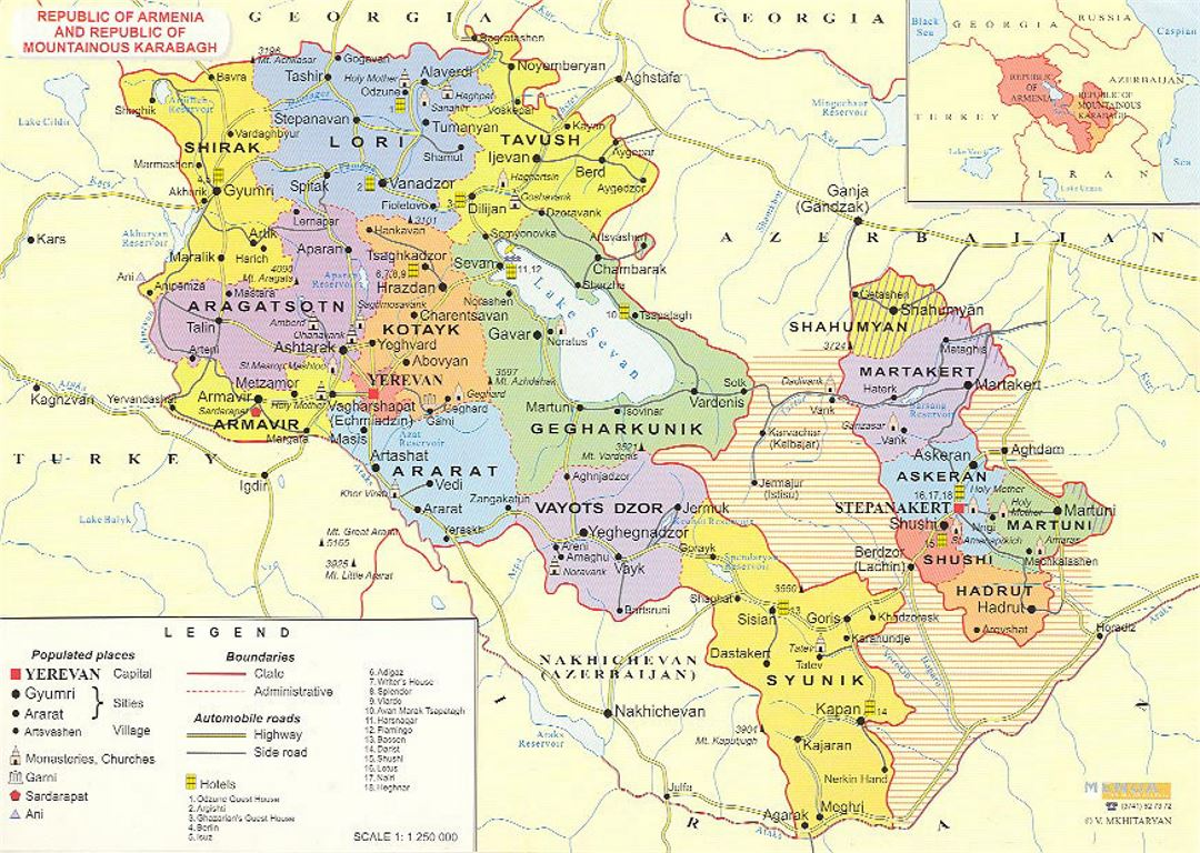 Administrative map of Armenia
