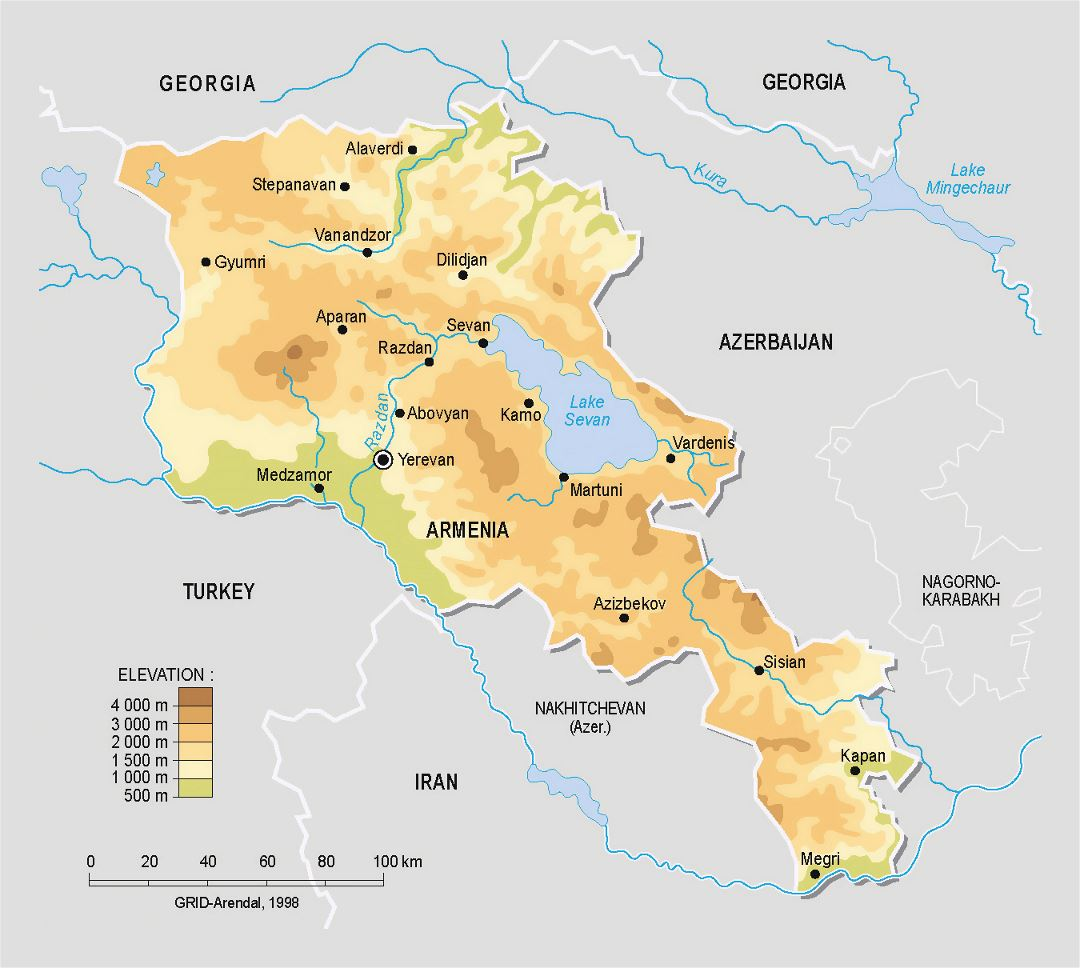 Detailed physical map of Armenia