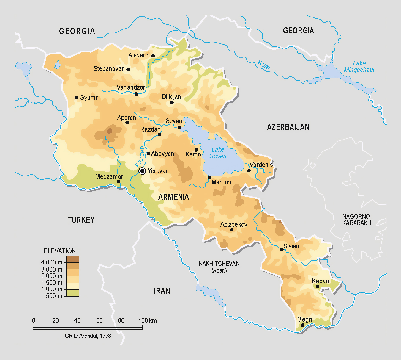 Detailed physical map of Armenia | Armenia | Asia | Mapsland | Maps ...