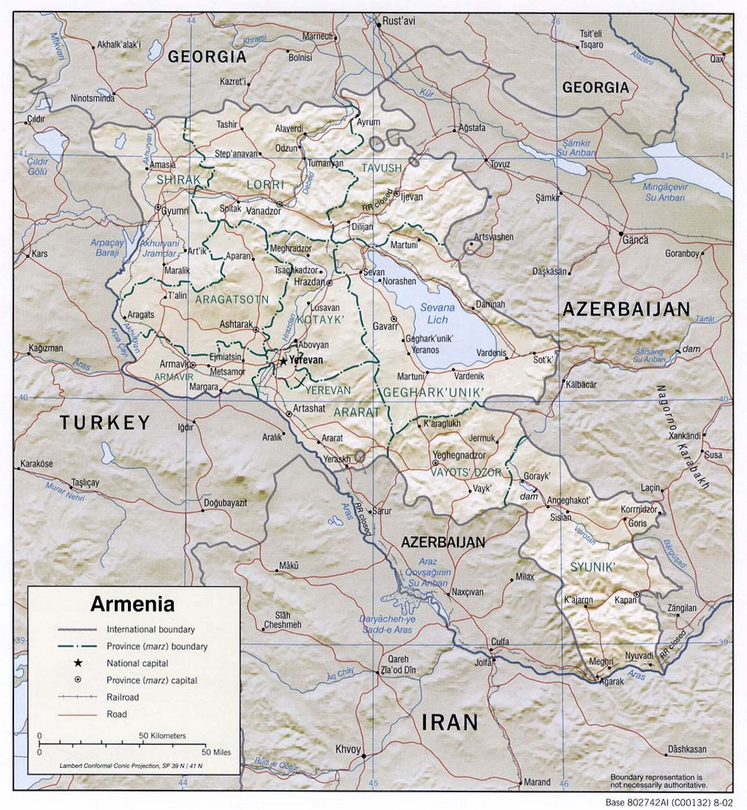 Detailed political and administrative map of Armenia with relief, roads and cities - 2002