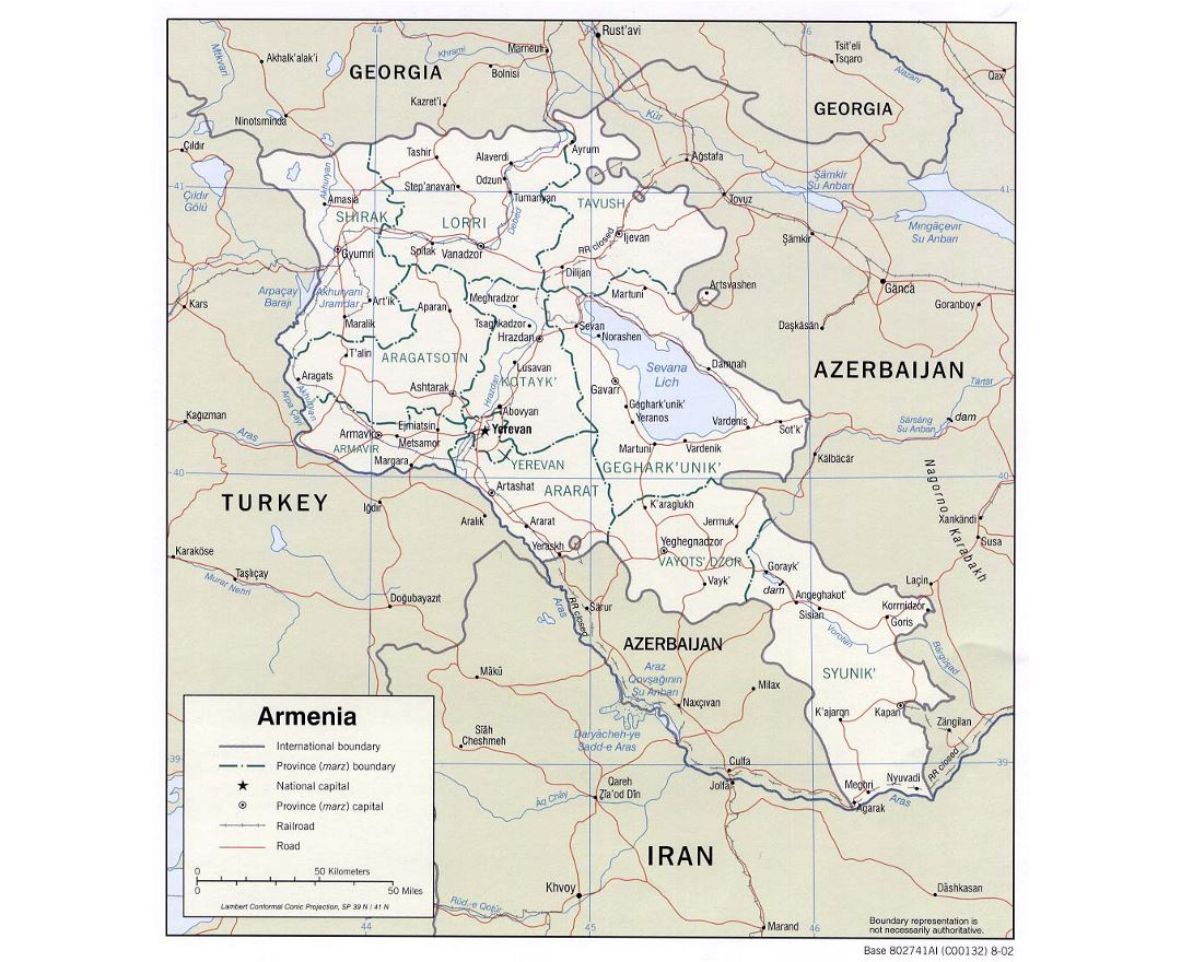 Maps of Armenia Detailed map of Armenia in English and Russian