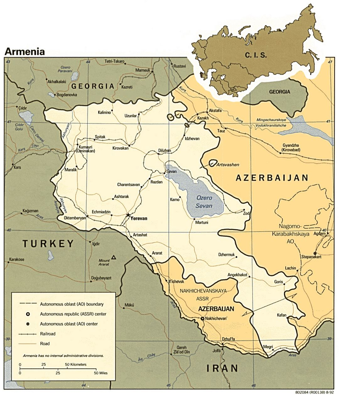 Detailed political map of Armenia with roads, railroads and major cities - 1992