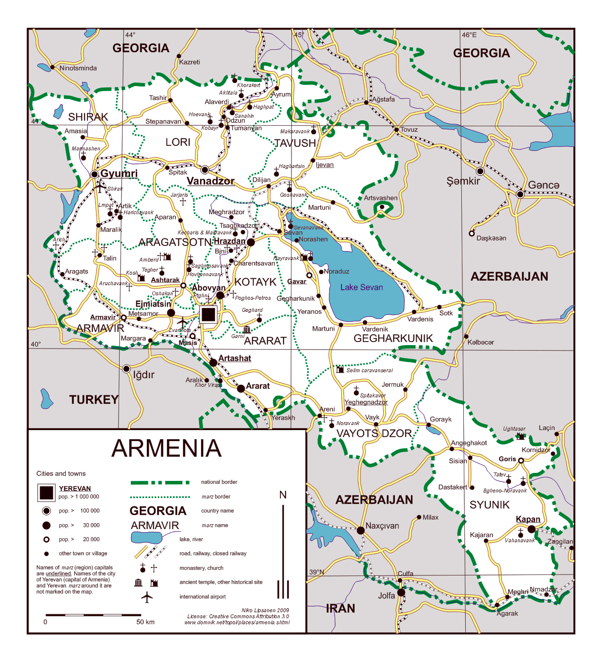 Detailed travel map of Armenia | Armenia | Asia | Mapsland ...