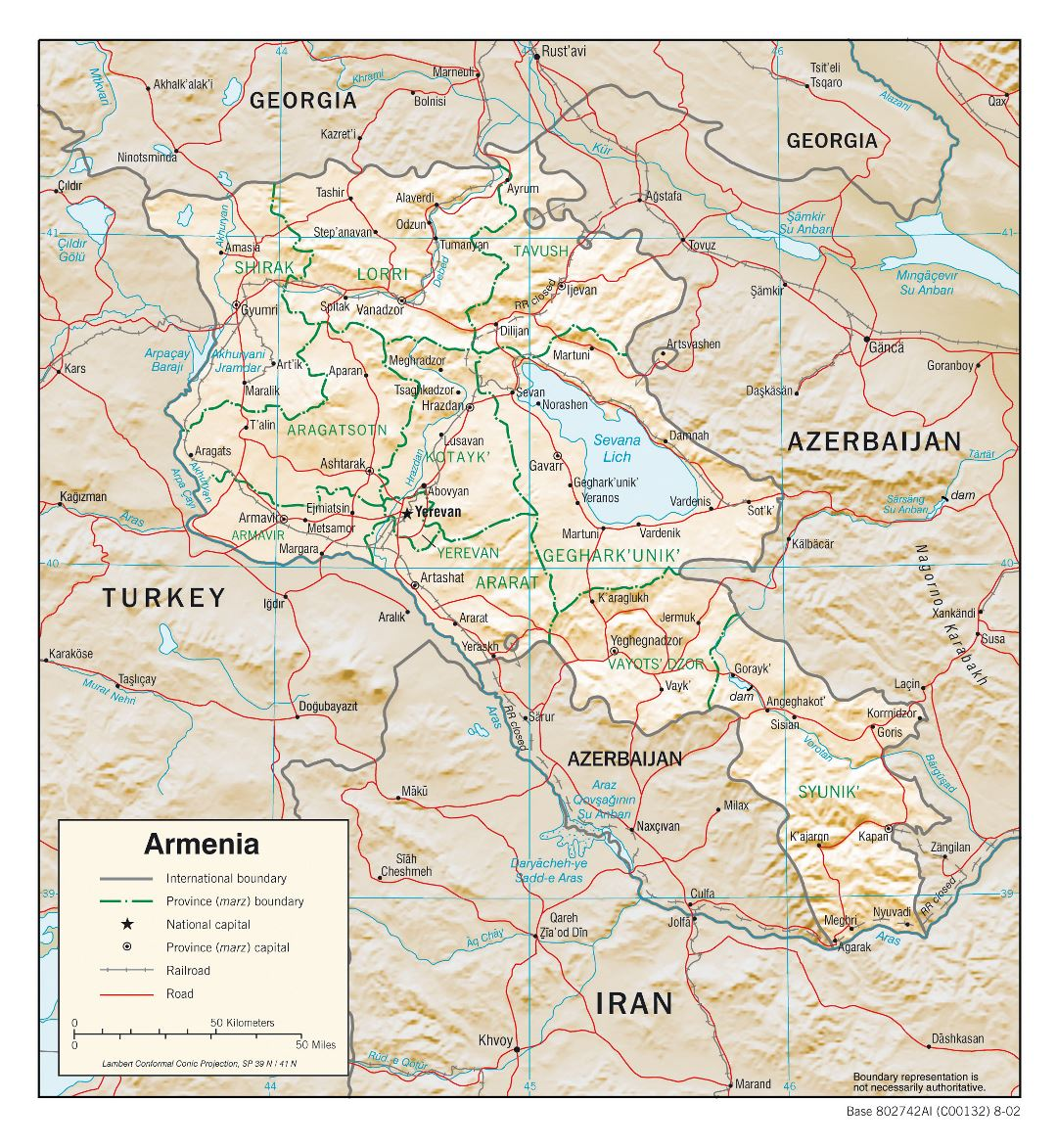 Large detailed political and administrative map of Armenia with relief, roads and cities - 2002