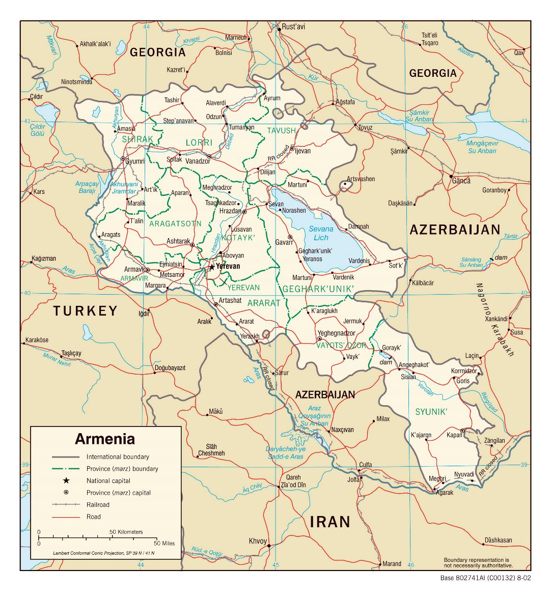 Large detailed political and administrative map of Armenia with roads and cities - 2002