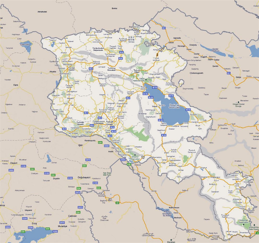 Large road map of Armenia with cities
