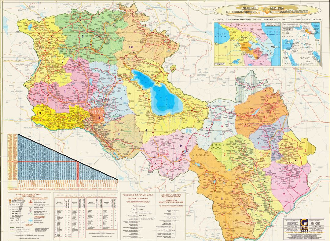 Large scale detailed political and administrative map of Armenia with roads and all cities