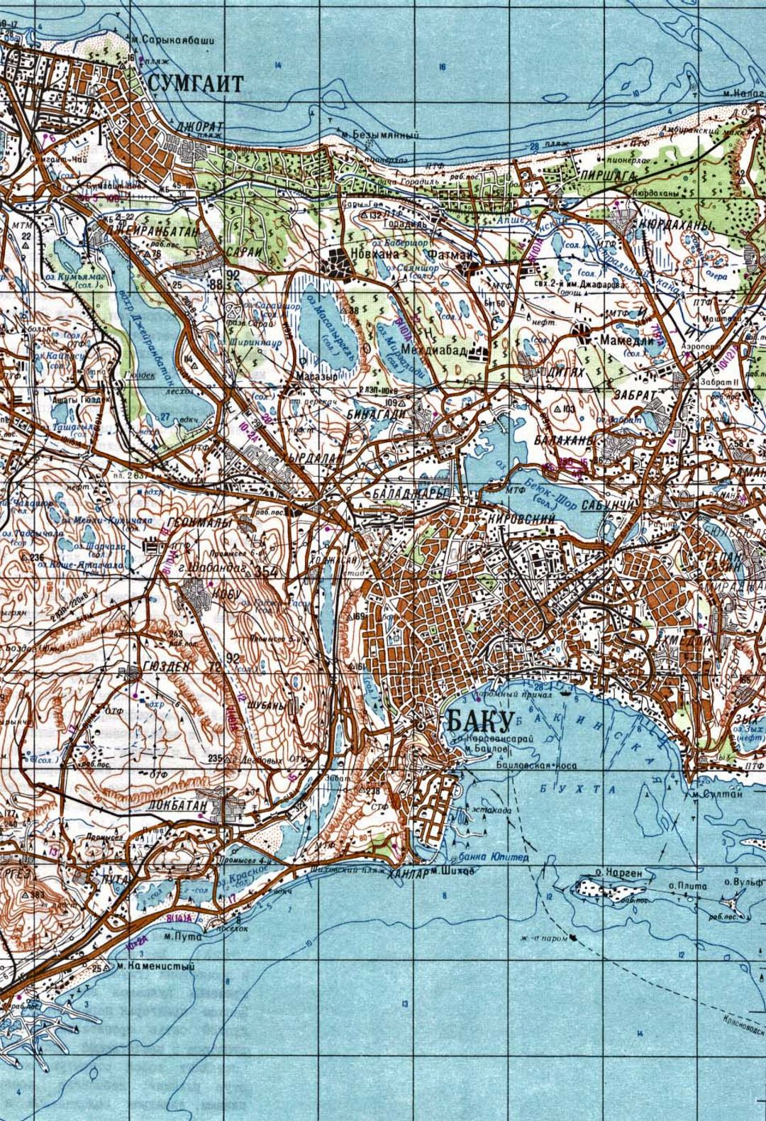 Large Baku topographical map in russian