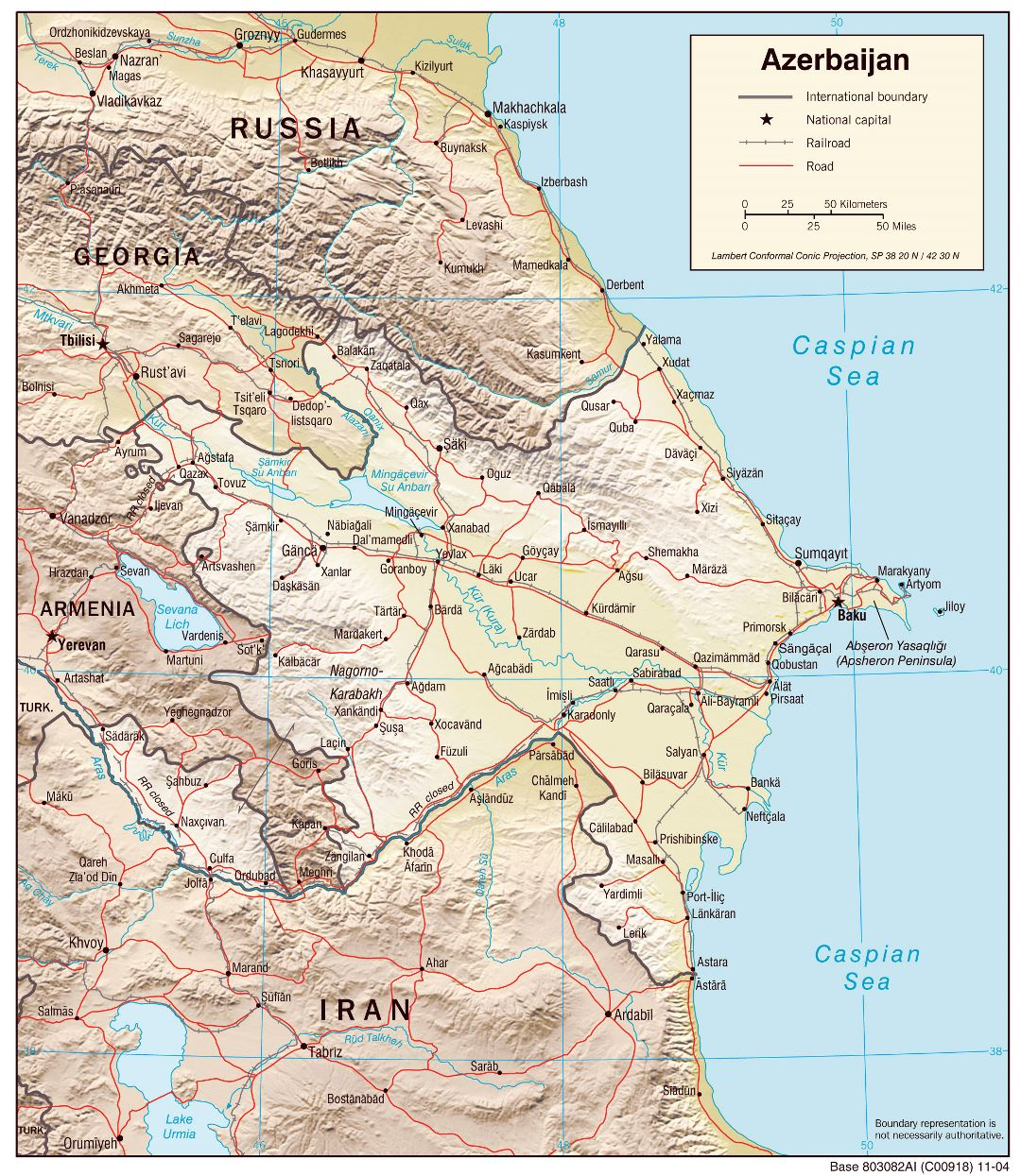 Large detailed political map of Azerbaijan with relief, roads and major cities 2004