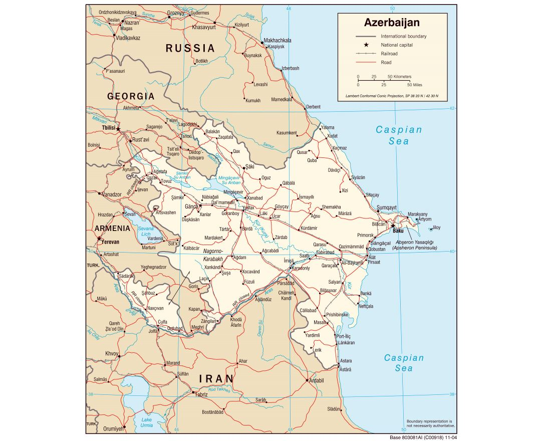Large detailed political map of Azerbaijan with roads and major cities - 2004