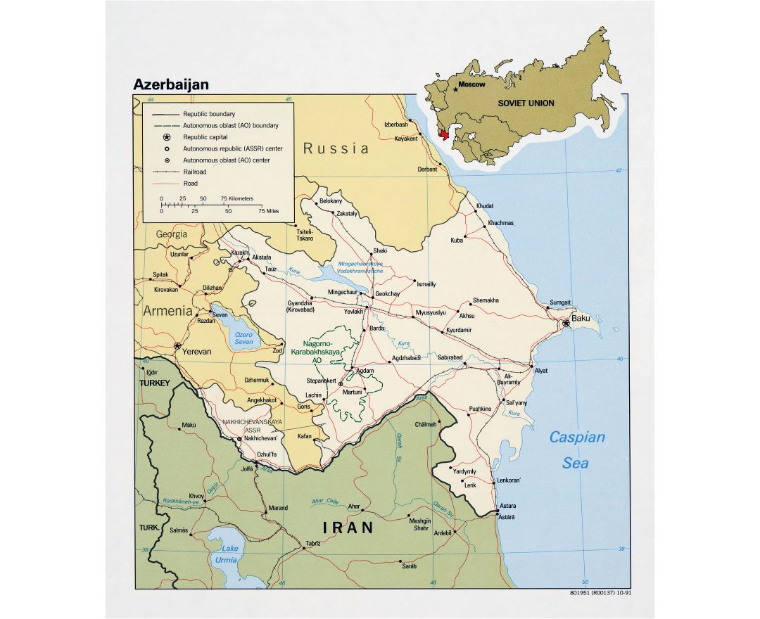 Large detailed political map of Azerbaijan with roads, railroads and major cities - 1991