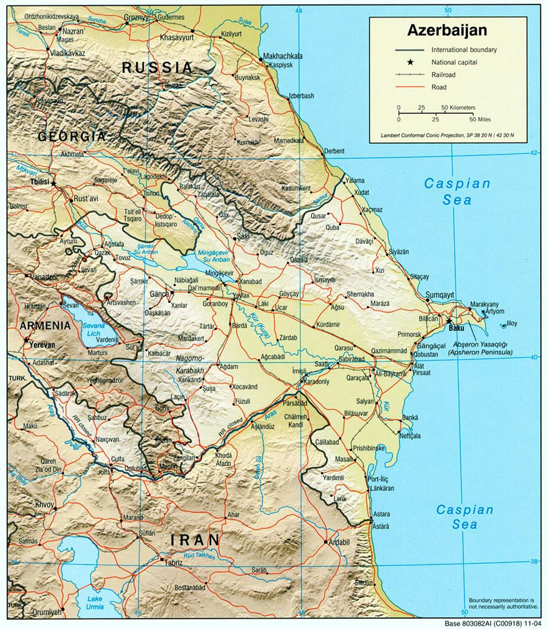 Large political map of Azerbaijan with relief, roads, railroads and cities - 2004
