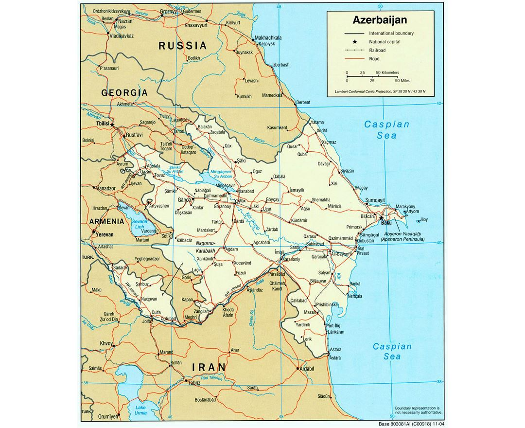 Large political map of Azerbaijan with roads, railroads and cities - 2004
