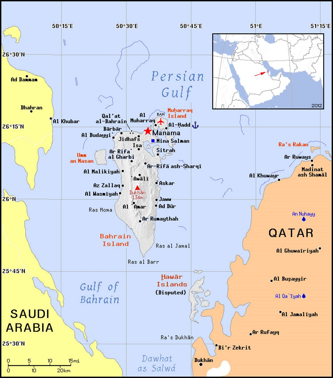 Detailed political map of Bahrain with relief