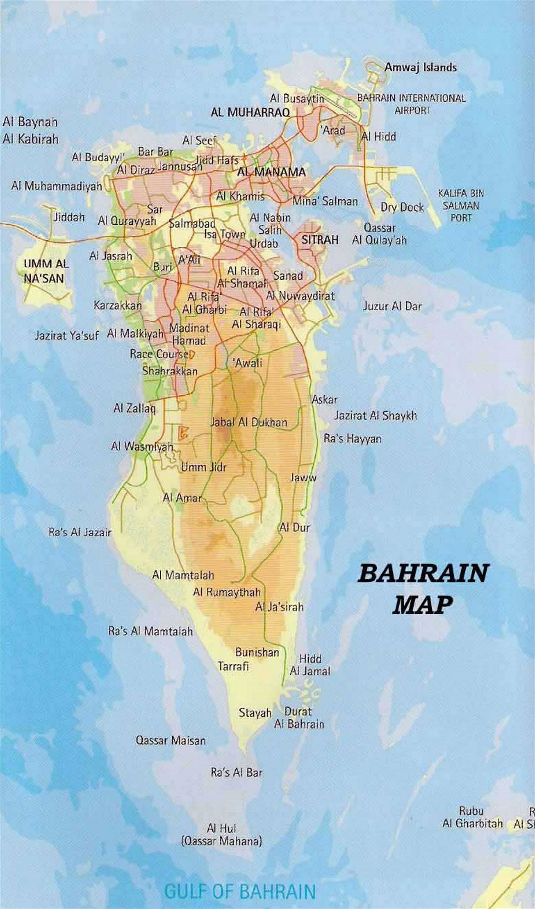 Detailed Road And Elevation Map Of Bahrain Bahrain Asia