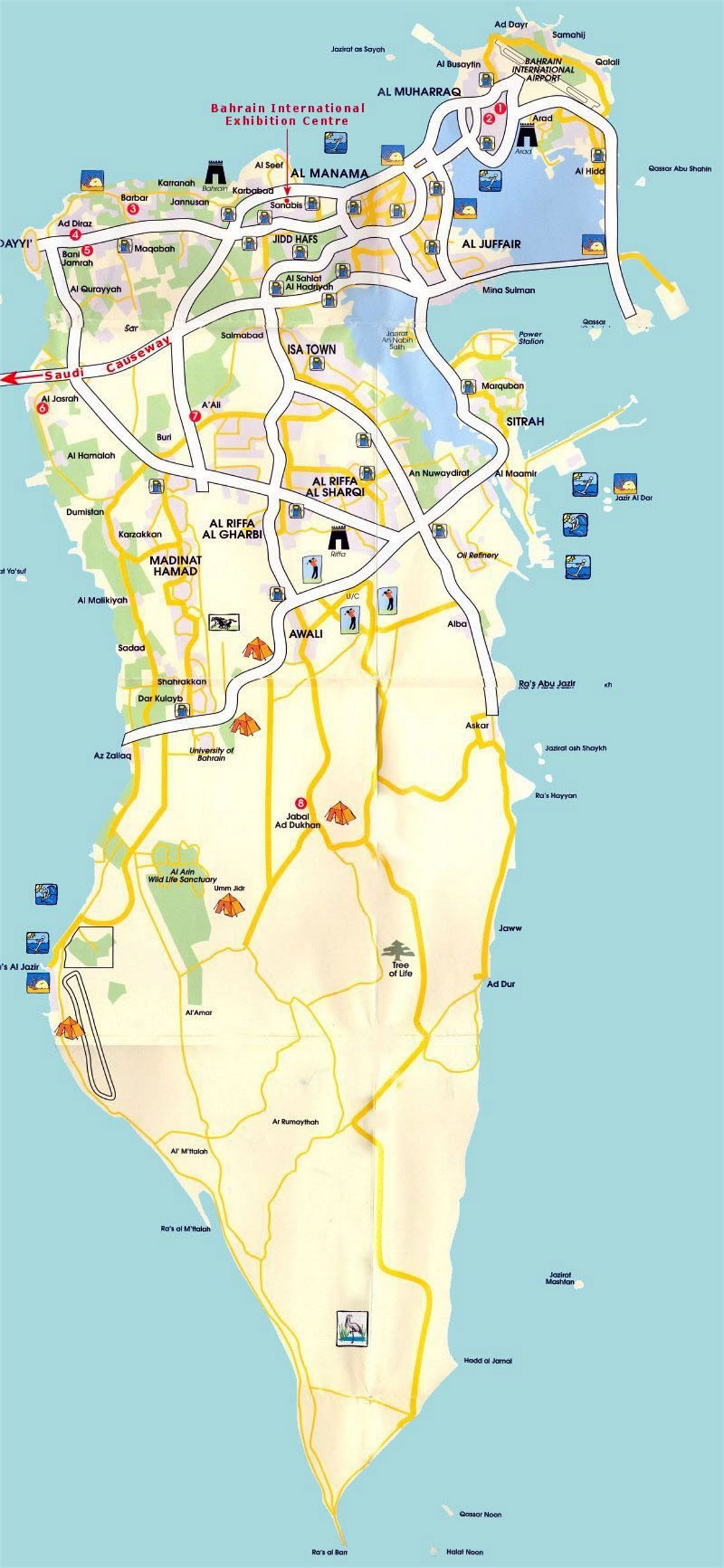 Detailed tourist map of Bahrain with roads