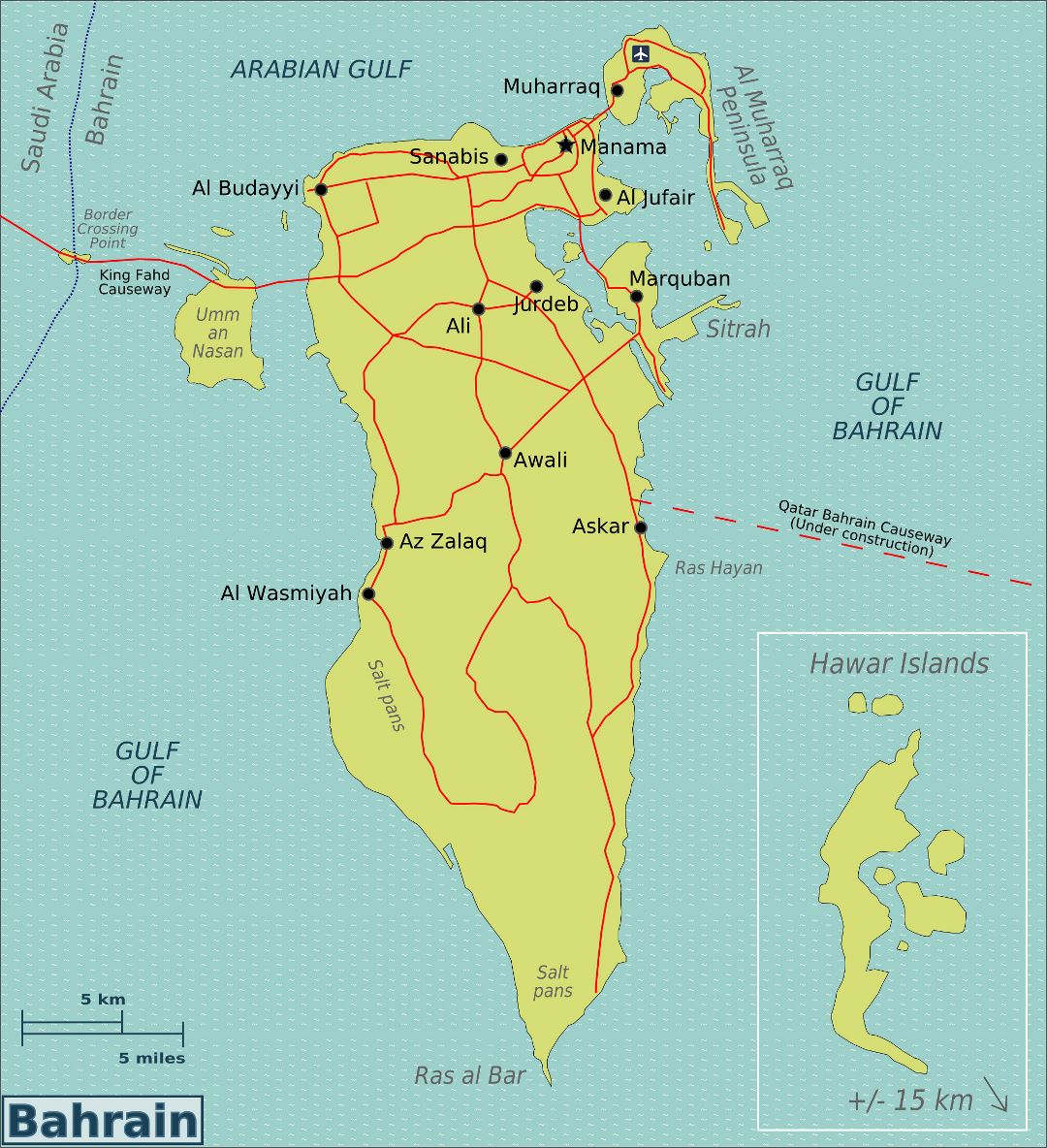 Large map of Bahrain with roads, cities and airports