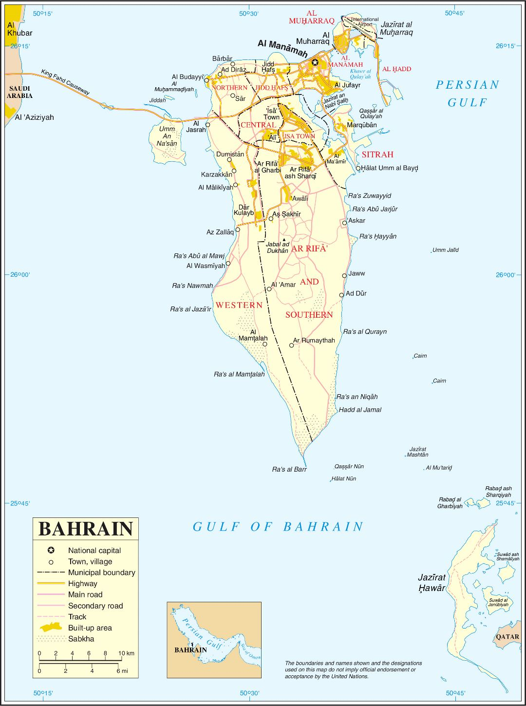 Large scale political map of Bahrain with all roads and cities
