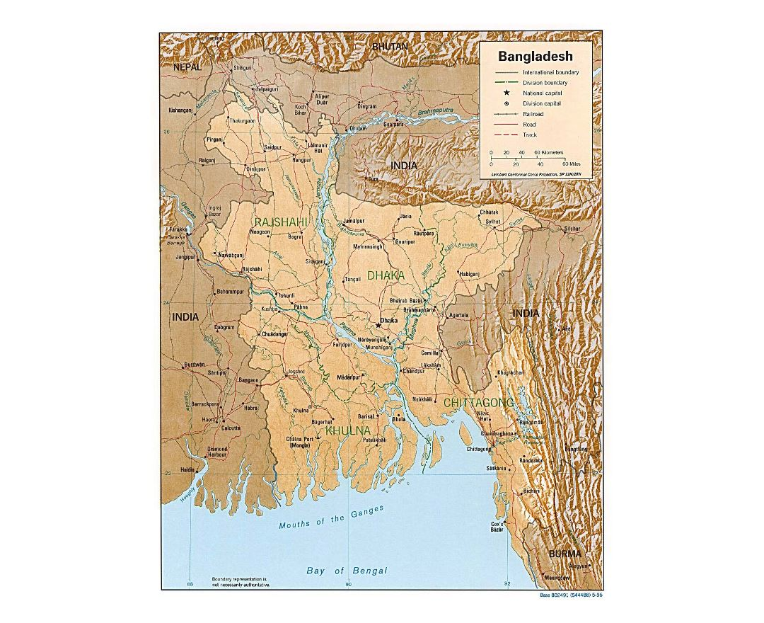 Detailed political and administrative map of Bangladesh with relief, roads and major cities - 1996