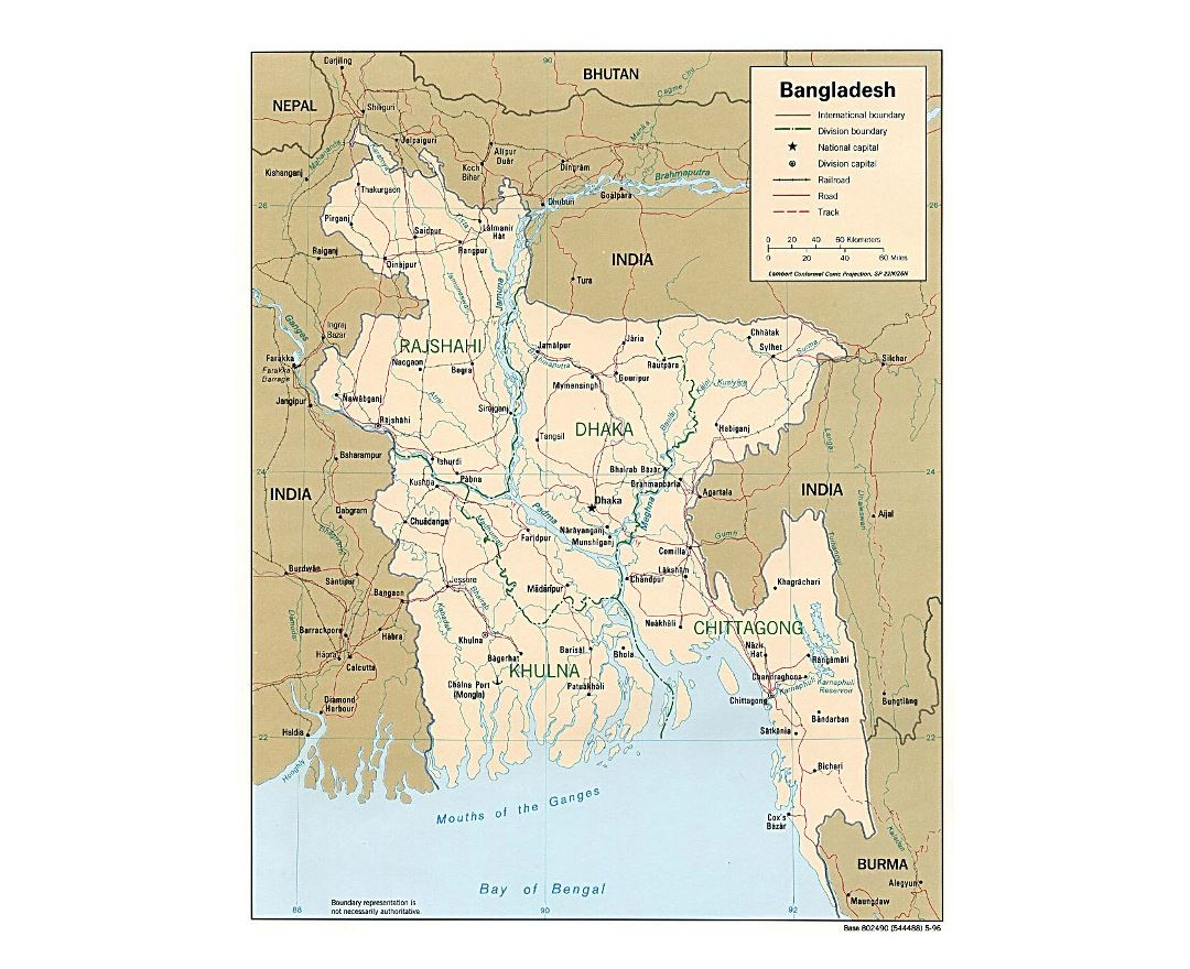 Detailed political and administrative map of Bangladesh with roads and major cities - 1996