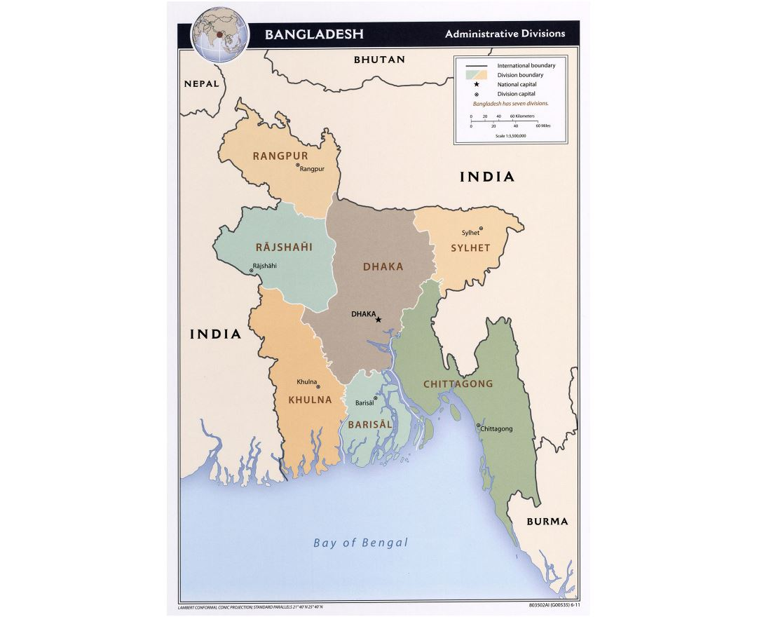 Large detailed administrative divisions map of Bangladesh - 2011