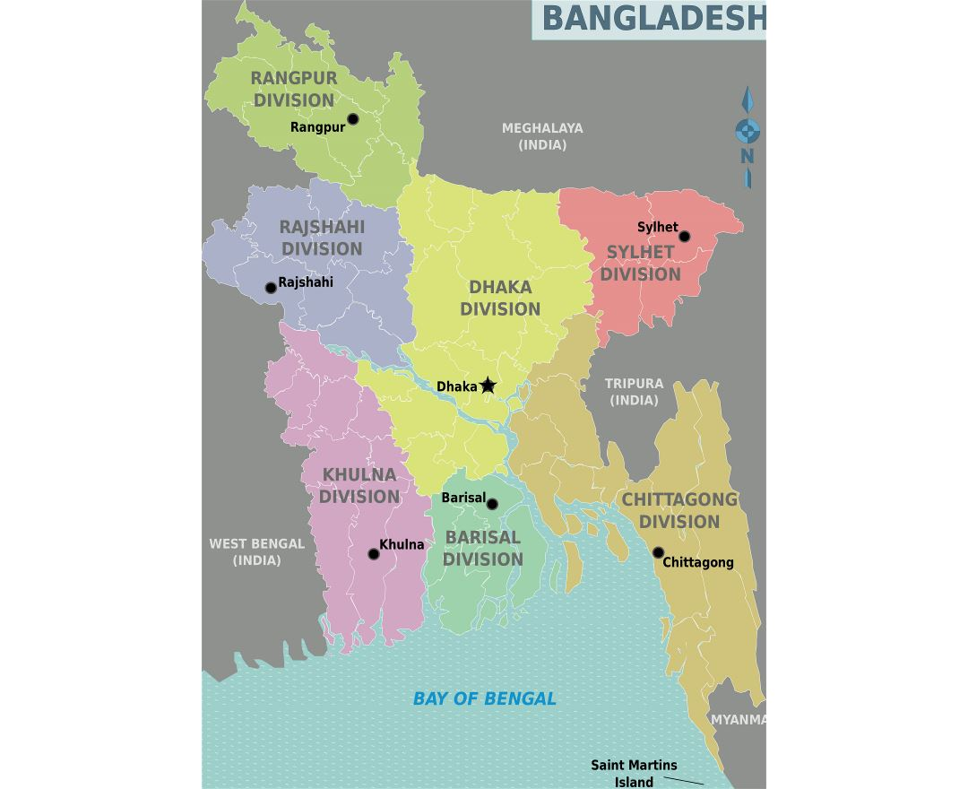 Large detailed administrative divisions map of Bangladesh