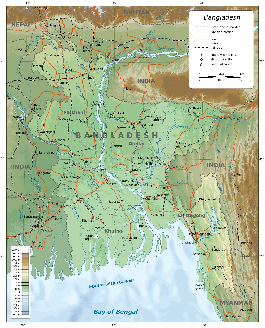Large detailed physical map of Bangladesh