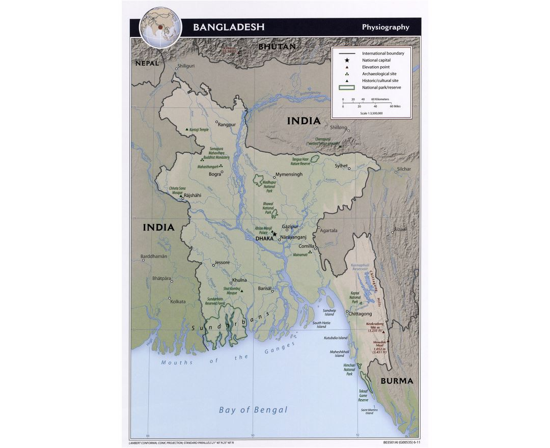 Large detailed physiography map of Bangladesh - 2011