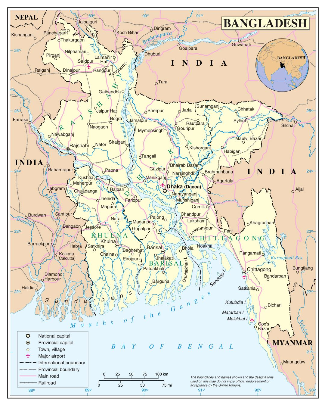 Large detailed political and administrative map of Bangladesh with roads, railroads, cities and airports