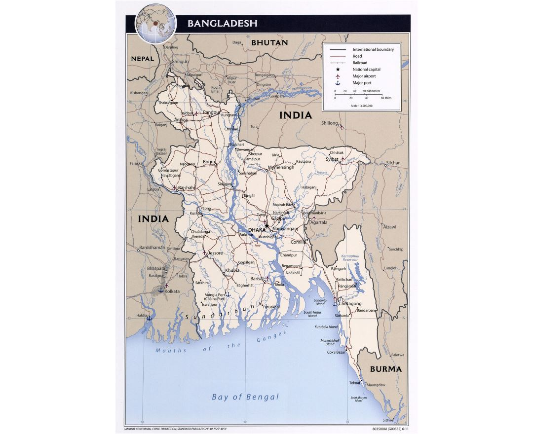 Large detailed political map of Bangladesh with roads, railroads, major cities and airports - 2011