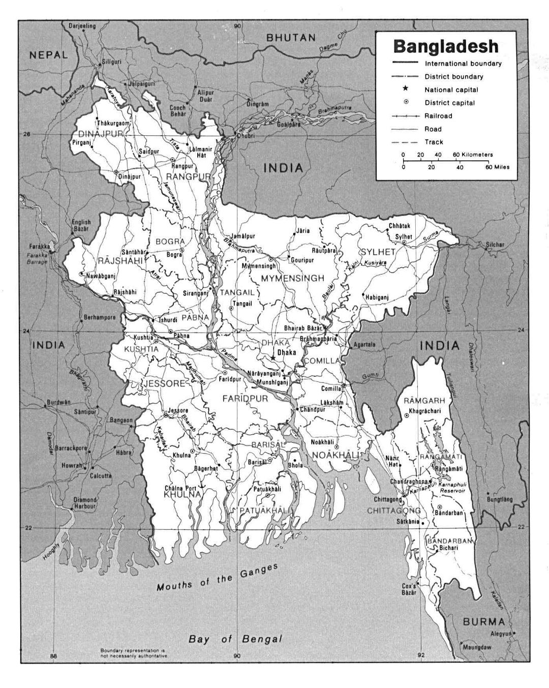 Large political and administrative map of Bangladesh with roads and major cities