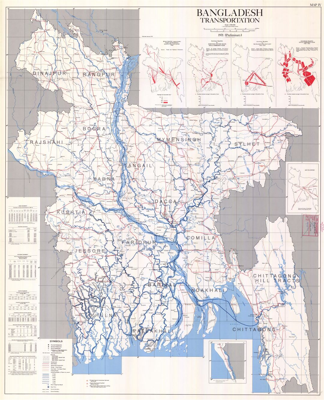 Large scale detailed transportation map of Bangladesh