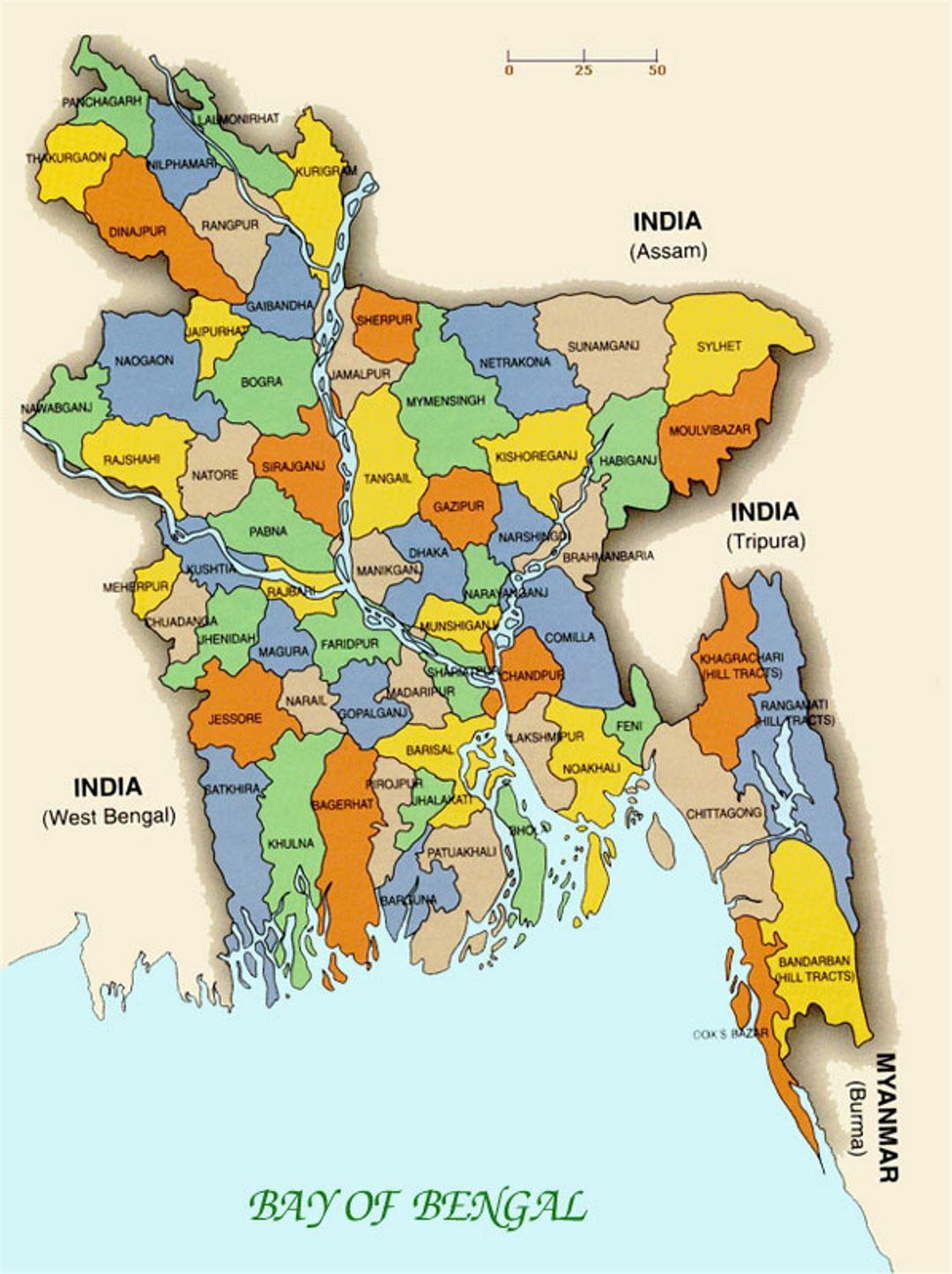 Small Administrative Map Of Bangladesh Bangladesh Asia - Bangladesh map