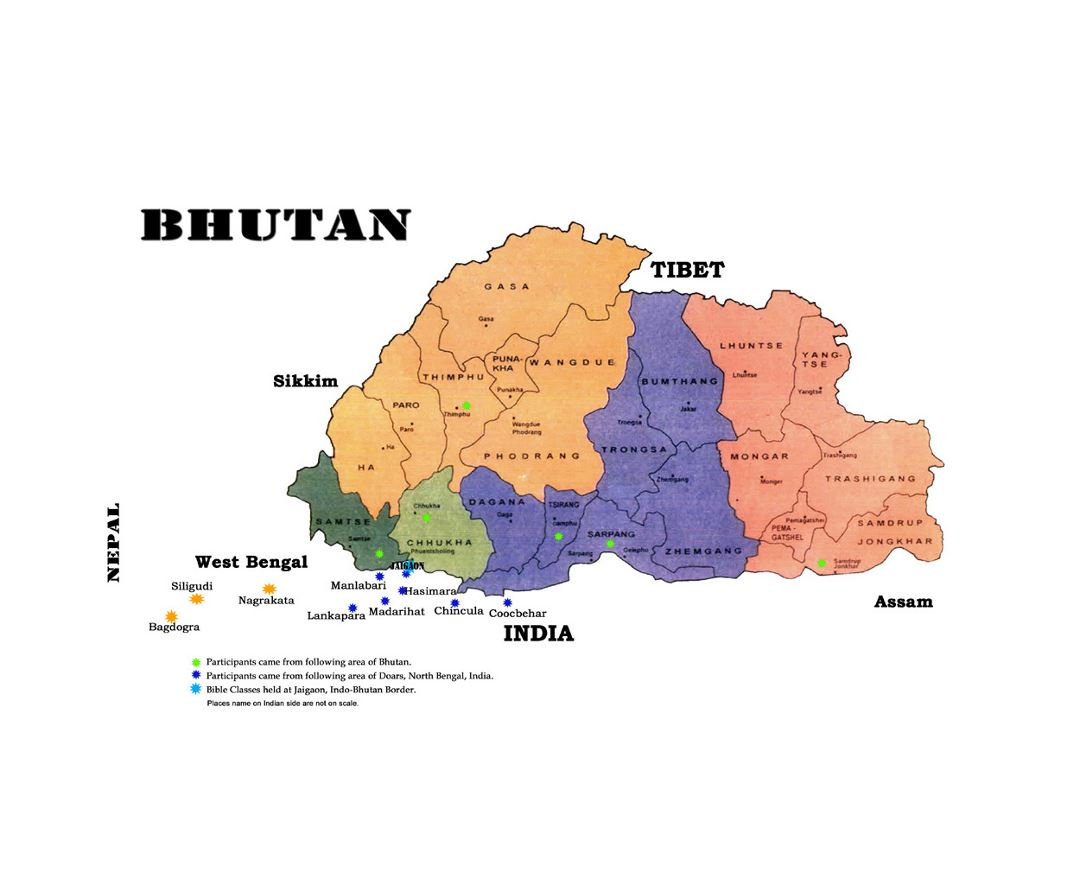 Detailed administrative map of Bhutan