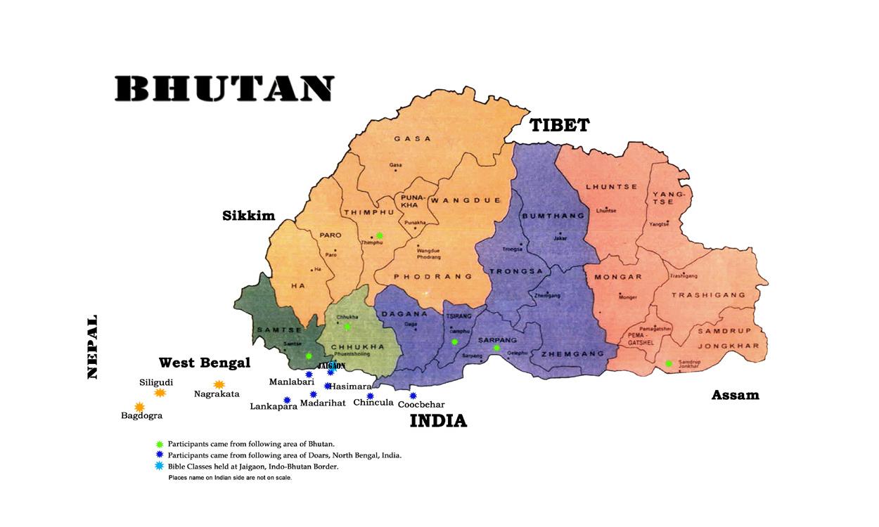 Detailed administrative map of Bhutan Bhutan Asia Mapsland