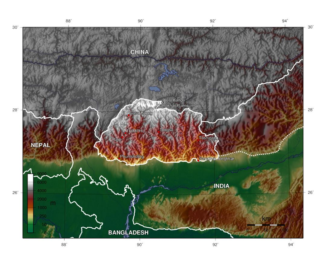 Detailed physical map of Bhutan