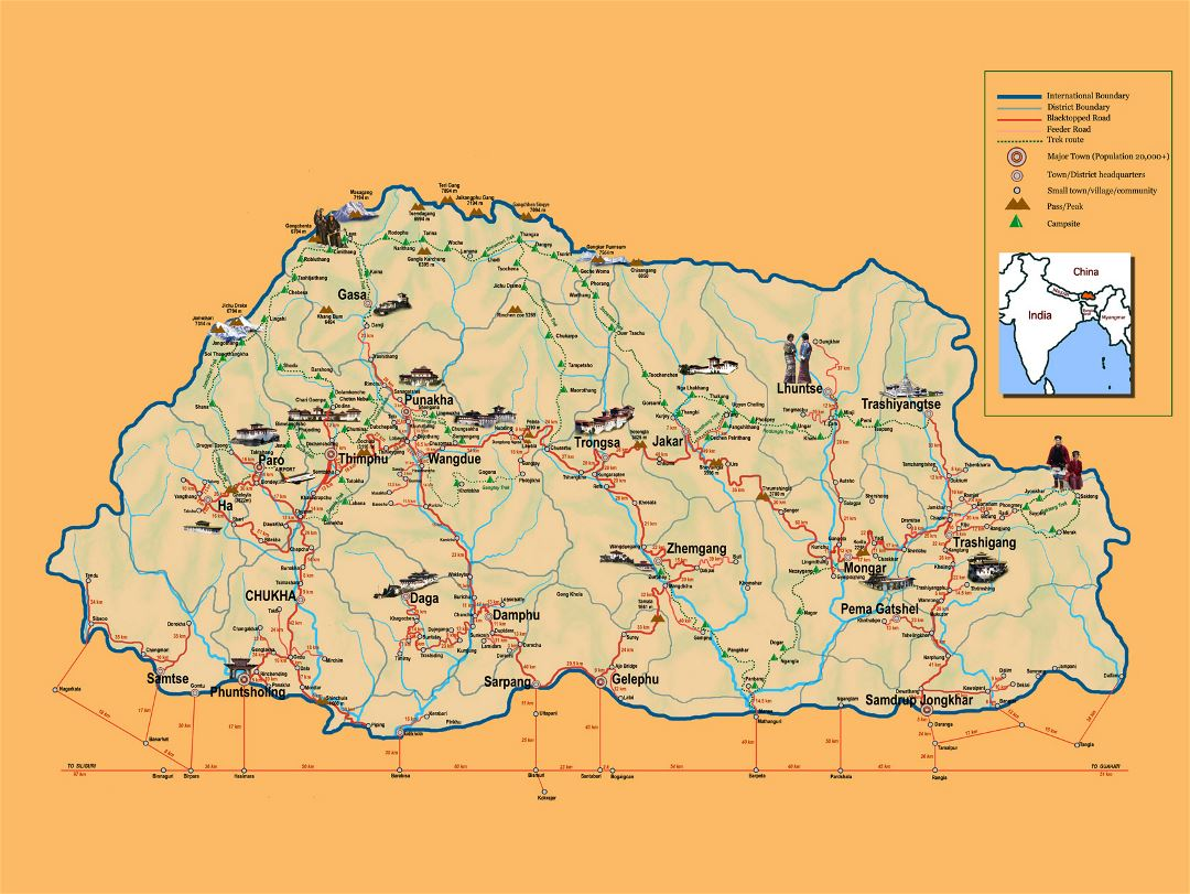Detailed tourist map of Bhutan