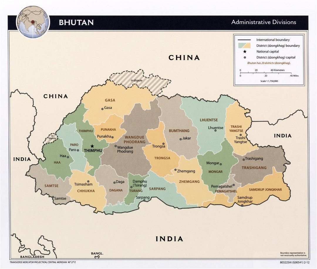 Large administrative divisions map of Bhutan - 2012
