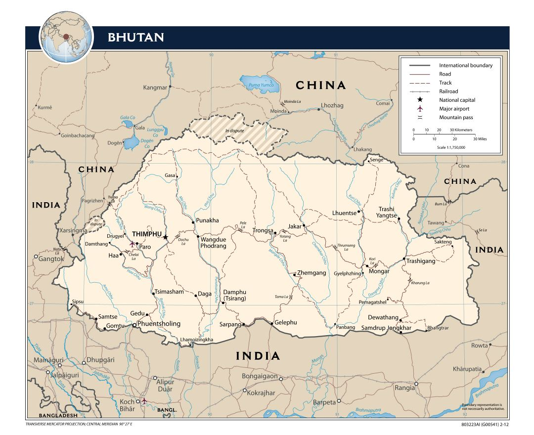 Large detailed political map of Bhutan with roads, railroads, major cities and airports - 2012