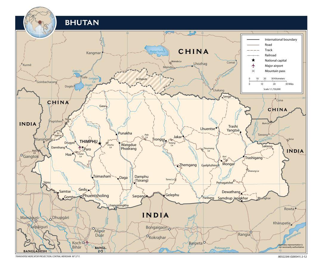 Maps of Bhutan | Collection of maps of Bhutan | Asia | Mapsland ...