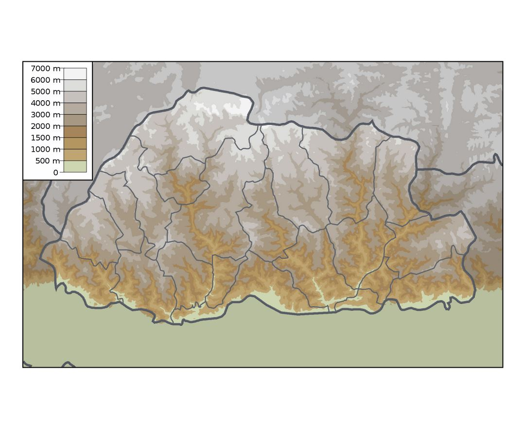 Large physical map of Bhutan