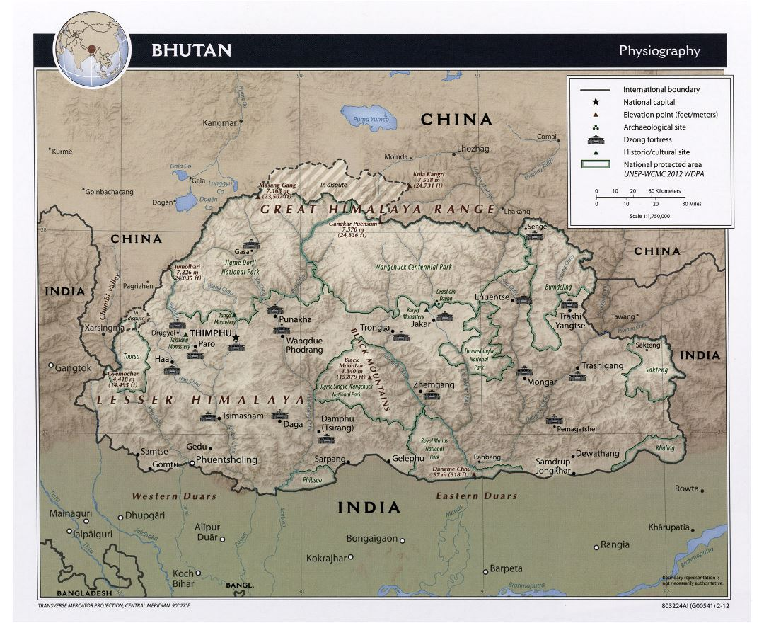 Large physiography map of Bhutan - 2012