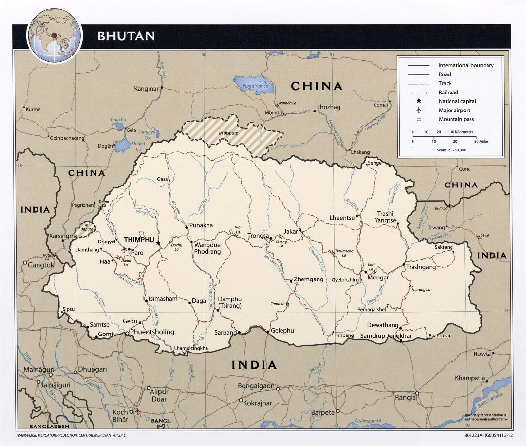 Large political map of Bhutan with roads, railroads, major cities and airports - 2012
